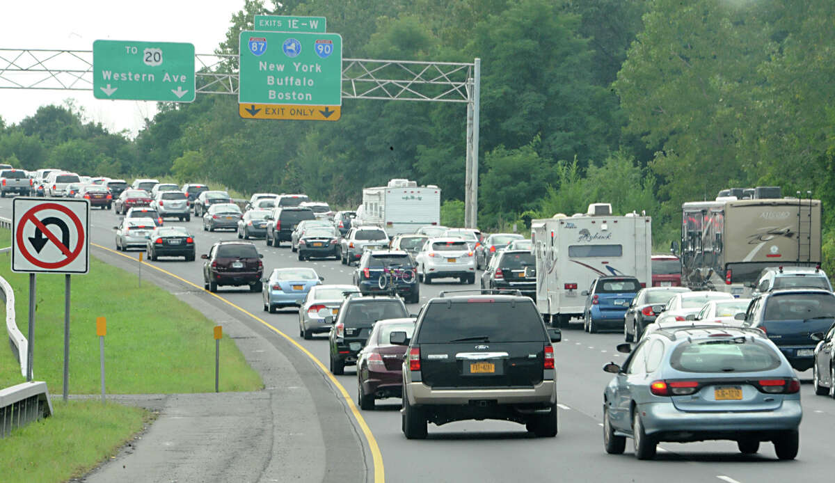 Traffic is backed up on I-87 southbound near the I-90 interchange exit 24 as the final summer weekend comes to an end Monday, Sept. 2, 2013 in Albany, N.Y. (Lori Van Buren / Times Union)