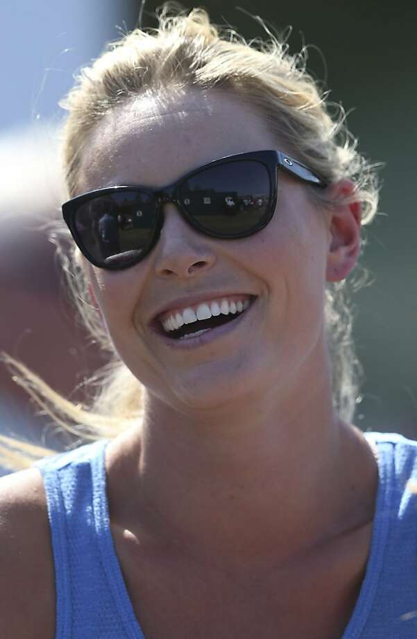 Skier Lindsey Vonn, girlfriend of Tiger Woods of the United States, watches the second round of the British Open Golf Championship at Muirfield, Scotland, Friday July 19, 2013. (AP Photo/Scott Heppell) Photo: Scott Heppell, Associated Press