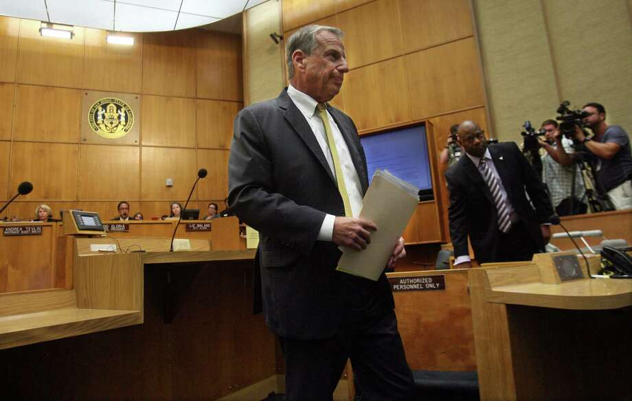 San Diego Mayor Bob Filner leaves the podium after announcing his mayoral resignation to the city council on August 23, 2013 in San Diego, California. Photo: Bill Wechter, Getty Images / 2013 Getty Images