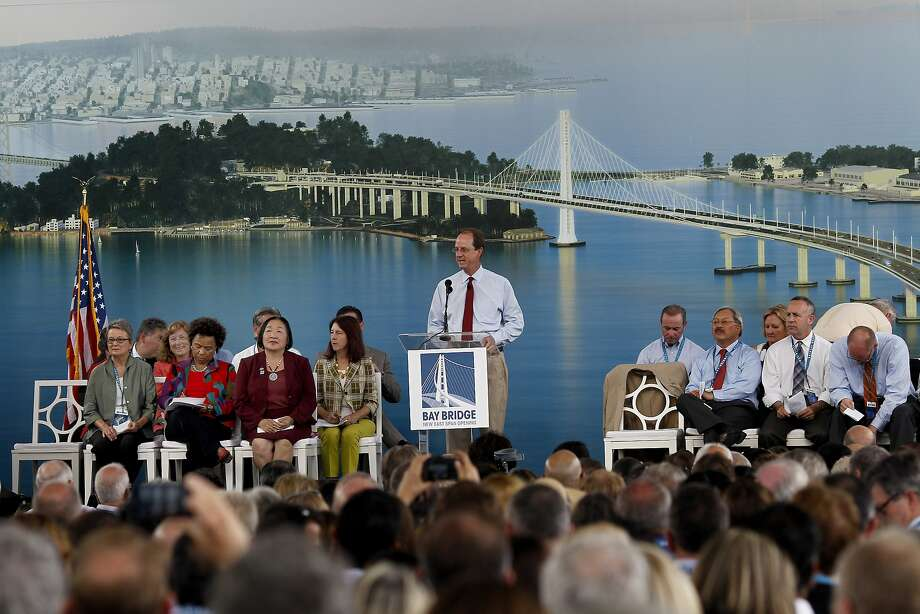 Steve Heminger invited the audience to remove their jackets in the warm space Monday September 2, 2013. The celebration for the opening of the eastern span of the Bay Bridge began with a ceremony in the Bridge Yard building near the toll plaza. Photo: Brant Ward, The Chronicle