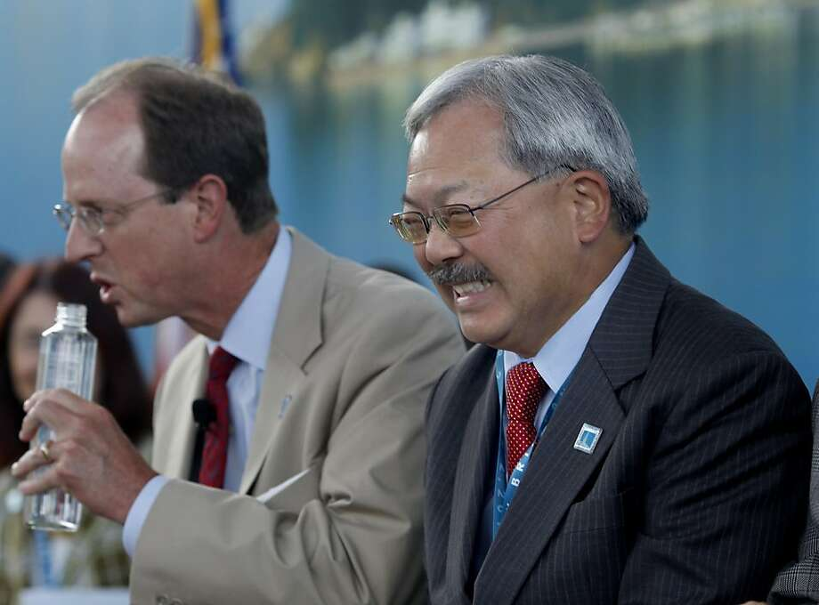 San Francisco Mayor Ed Lee sat with the dignitaries Monday september 2, 2013. The celebration for the opening of the eastern span of the Bay Bridge began with a ceremony in the Bridge Yard building near the toll plaza. Photo: Brant Ward, The Chronicle