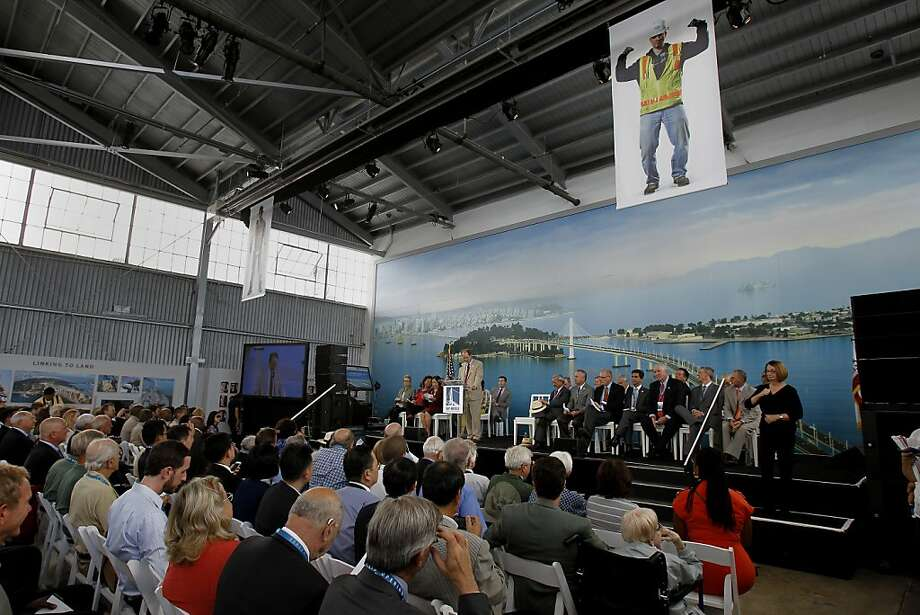 Steve Heminger served as master of ceremonies for the event Monday September 2, 2013. The celebration for the opening of the eastern span of the Bay Bridge began with a ceremony in the Bridge Yard building near the toll plaza. Photo: Brant Ward, The Chronicle