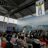 Steve Heminger served as master of ceremonies for the event Monday September 2, 2013. The celebration for the opening of the eastern span of the Bay Bridge began with a ceremony in the Bridge Yard building near the toll plaza.