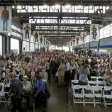 Hundreds filled the Bridge Yard for the event Monday September 2, 2013. The celebration for the opening of the eastern span of the Bay Bridge began with a ceremony in the Bridge Yard building near the toll plaza.