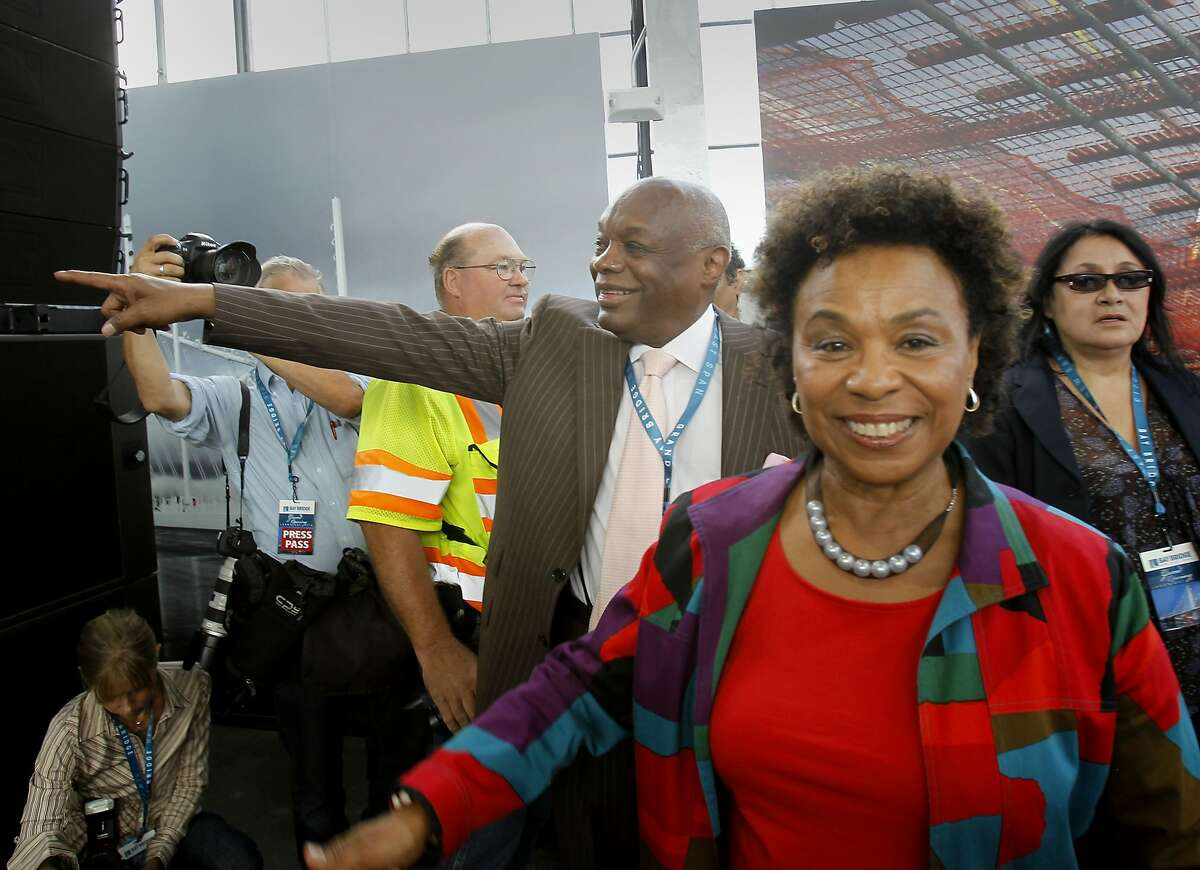 Congresswoman Barbara Lee (right) and former San Francisco mayor Willie Brown arrived at the celebration Monday September 2, 2013. The celebration for the opening of the eastern span of the Bay Bridge began with a ceremony in the Bridge Yard building near the toll plaza.