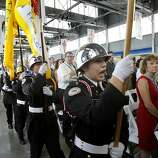 A Color Guard began the ceremony Monday September 2, 2013. The celebration for the opening of the eastern span of the Bay Bridge began with a ceremony in the Bridge Yard building near the toll plaza.