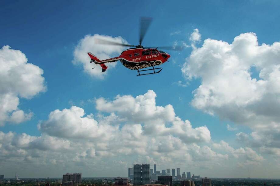 A Life Flight helicopter carrying Staff Sgt. Marbou Christman takes off from the helipad at Memorial Hermann Hospital. Along with classroom training, the soldiers Ñ all stationed in Fort Knox, Ky., with an Army Reserve aviation unitÑ were able to get hands-on experience with real patients in operating rooms and flying with Life Flight crews to trauma calls. Photo: Smiley N. Pool, Houston Chronicle / © 2013  Houston Chronicle