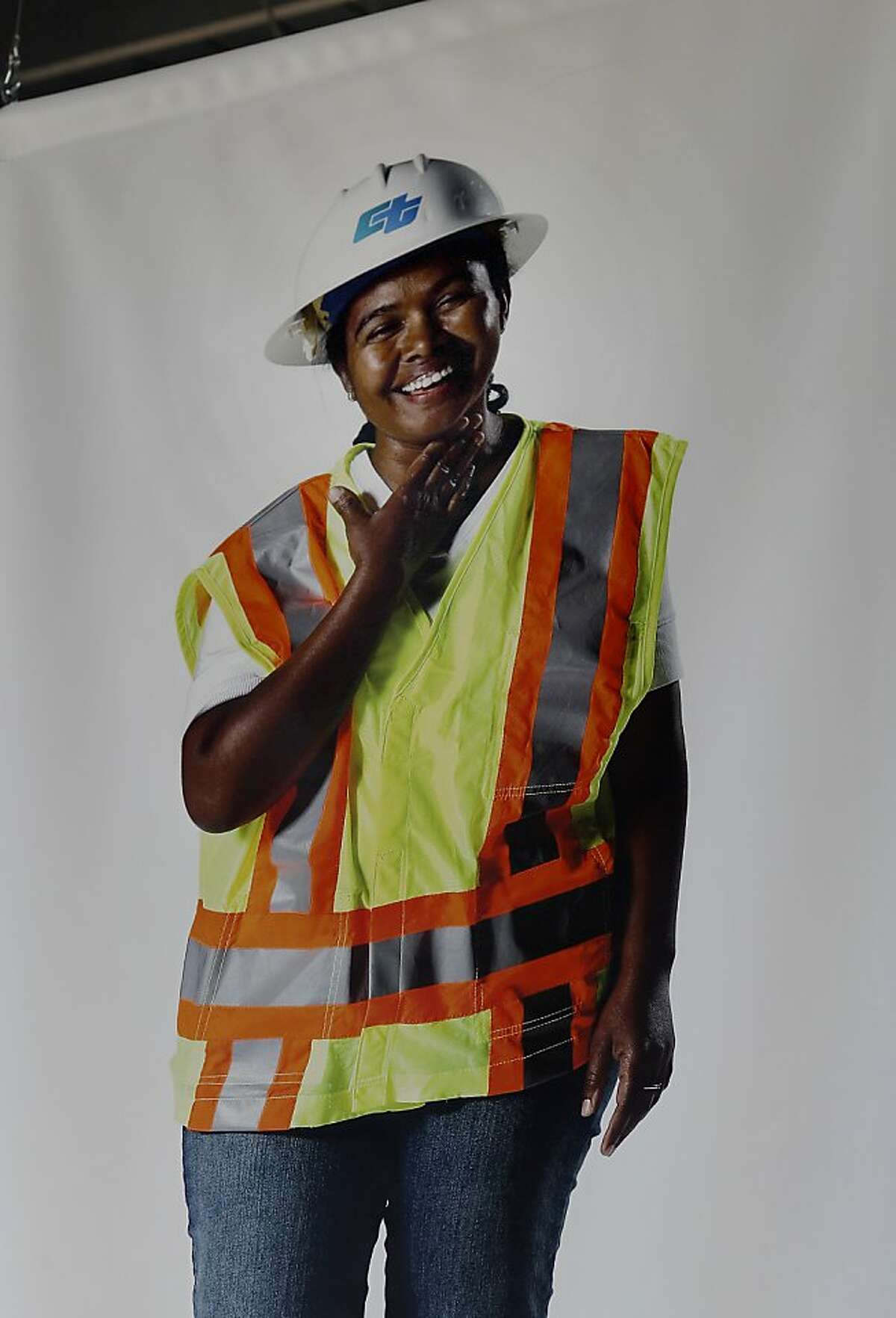 Masti Bogale, a bridge inspector, attended the ceremony and had her picture hanging from the rafters Monday September 2, 2013. The celebration for the opening of the eastern span of the Bay Bridge began with a ceremony in the Bridge Yard building near the toll plaza.