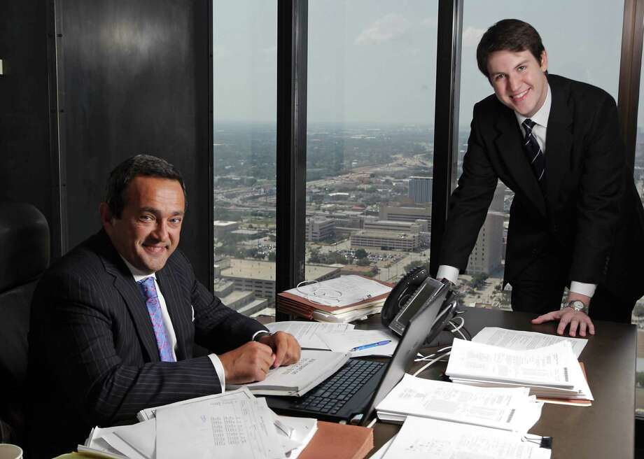 University of Houston law school student Ward Goolsby (right) visits the office of AZA Law partner John Zavitsanos in Houston. Goolsby has just accepted a new position at AZA Law when he graduates. Photo: Houston Chronicle