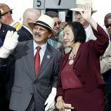 Mayor Ed Lee of San Francisco and Jean Quan of Oakland waved to friends at the chain cutting Monday September 2, 2013. The celebration for the opening of the eastern span of the Bay Bridge began with a ceremony in the Bridge Yard building near the toll plaza, followed by a chain cutting ceremony nearby.