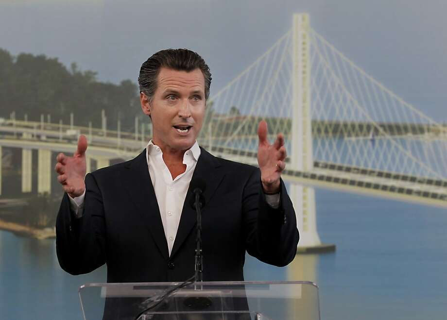Lt. Governor Gavin Newsom was the keynote speaker at the celebration Monday September 2, 2013. The celebration for the opening of the eastern span of the Bay Bridge began with a ceremony in the Bridge Yard building near the toll plaza, followed by a chain cutting ceremony nearby. Photo: Brant Ward, The Chronicle