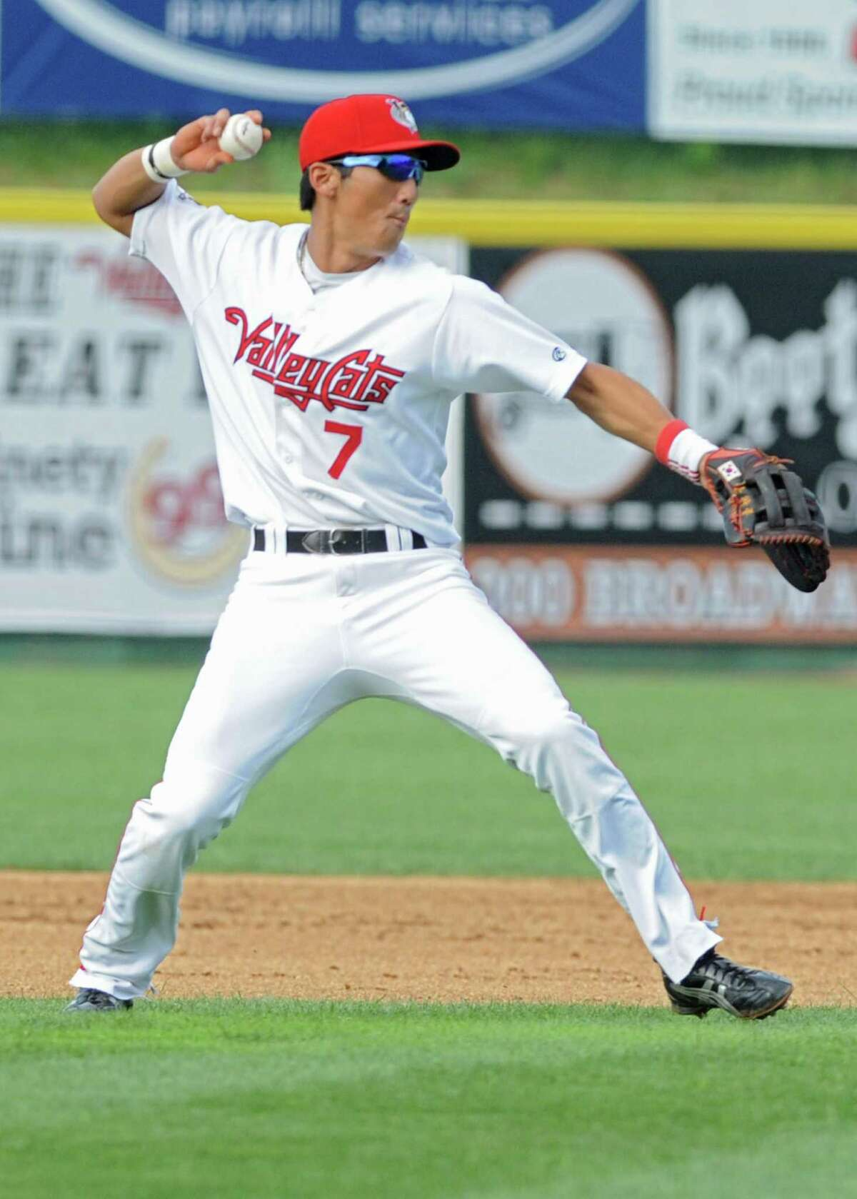 Tri-City ValleyCats shortstop Chan Moon gets the runner out at first base during a baseball game against the Brooklyn Cyclones at Joe Bruno Stadium on Monday, Sept. 2, 2013 in Troy, N.Y. (Lori Van Buren / Times Union)