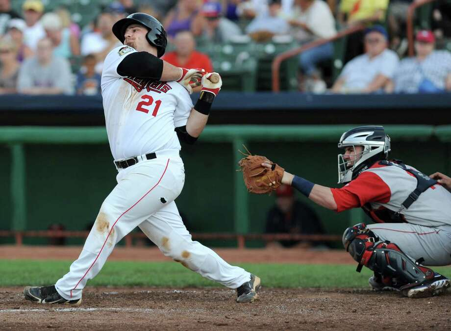Tri-City ValleyCats third baseman Tyler White takes a swing at the ball during a baseball game against the Brooklyn Cyclones at Joe Bruno Stadium on Monday, Sept. 2, 2013 in Troy, N.Y.  (Lori Van Buren / Times Union) Photo: Lori Van Buren / 00023640A