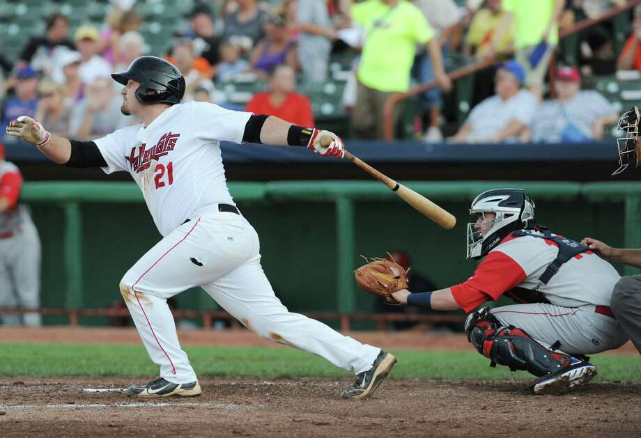 Tri-City ValleyCats third baseman Tyler White hits the ball to right field for a single during a baseball game against the Brooklyn Cyclones at Joe Bruno Stadium on Monday, Sept. 2, 2013 in Troy, N.Y.  (Lori Van Buren / Times Union) Photo: Lori Van Buren / 00023640A
