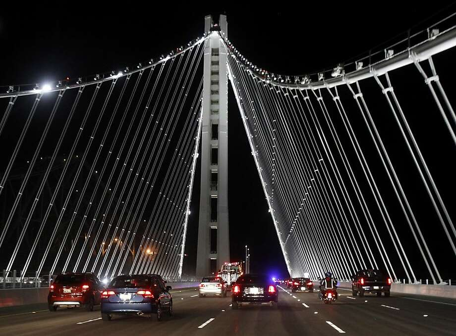 The new eastern span of the Bay Bridge opened shortly after 10pm Monday September 2, 2013 much to the delight of Bay Area residents. Photo: Brant Ward, The Chronicle