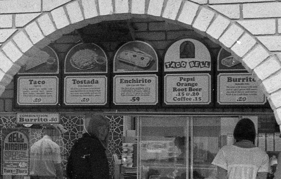 The Taco Bell menu in 1973. New owners have done a lot of different things with the front counter. Photo: Stephanie Maze, The Chronicle