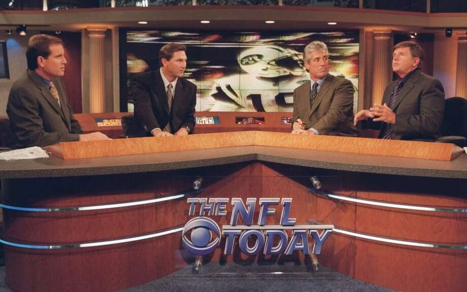 The NFL Today show hosts, from left, Jim Nantz, Craig James, Randy Cross,  and Jerry Glanville are shown on the set Saturday, Sept. 11, 1999 in New York. (AP Photo/Dave Russell, CBS) Photo: DAVE RUSSELL, AP