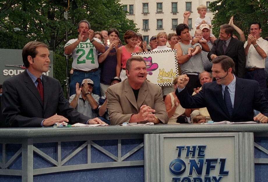 Jim Nantz, left, Mike Ditka, center, and Craig James kick off the 2000 NFL season on the outdoor set of 'The NFL Today' on CBS, Sunday, Sept. 3, 2000 from the corner of 5th Avenue and 59th Street in New York. (AP Photo/CBS, Jeff Neira) Photo: JEFF NEIRA, AP