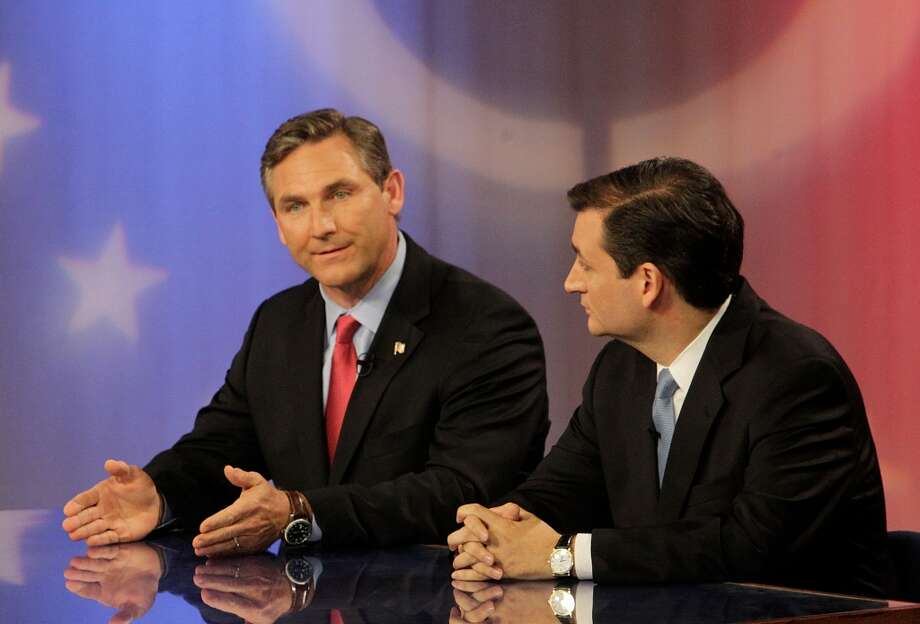 U.S. Senate candidates Craig James (R) and Ted Cruz (R) participate in a live debate held in the LeRoy and Lucile Melcher Center for Public Broadcasting at the University of Houston on Thursday, May 3, 2012, in Houston. ( Mayra Beltran / Houston Chronicle ) Photo: Mayra Beltran, Houston Chronicle