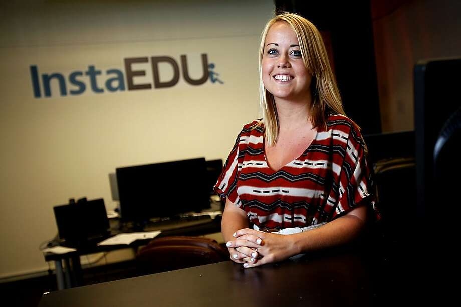 """InstaEDU co-founder Alison Johnston Rue, at the startup's S.F. headquarters: """"It's only now that most students have computers with webcams and bandwidth that is fast enough"""" for successful online tutoring, she says. Photo: Sarah Rice, Special To The Chronicle"""