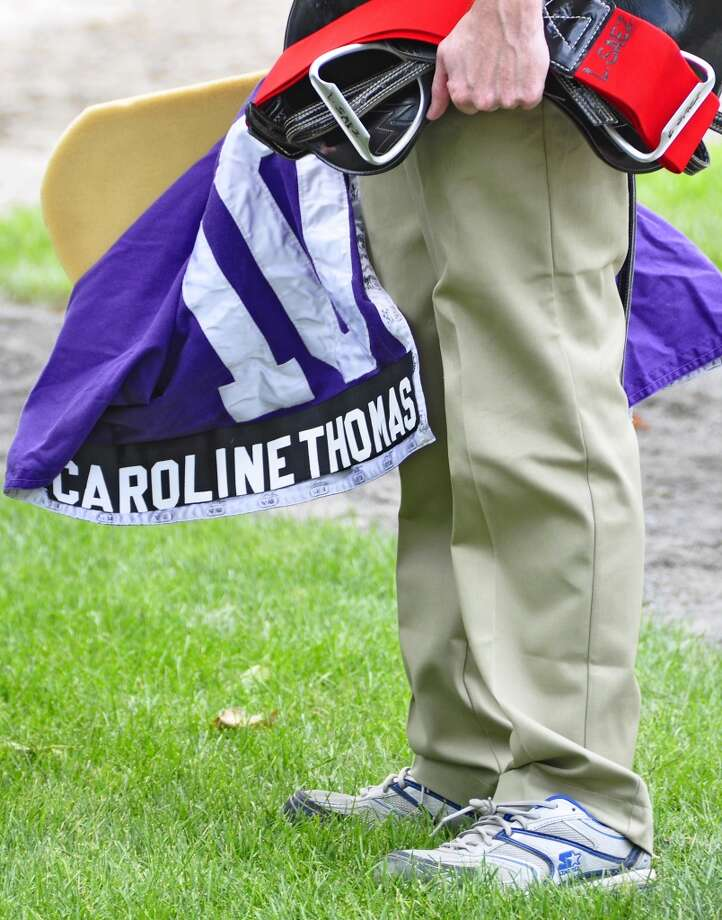 Waiting patiently to saddle Caroline Thomas for this stakes race on opening day. (George Zilberman)