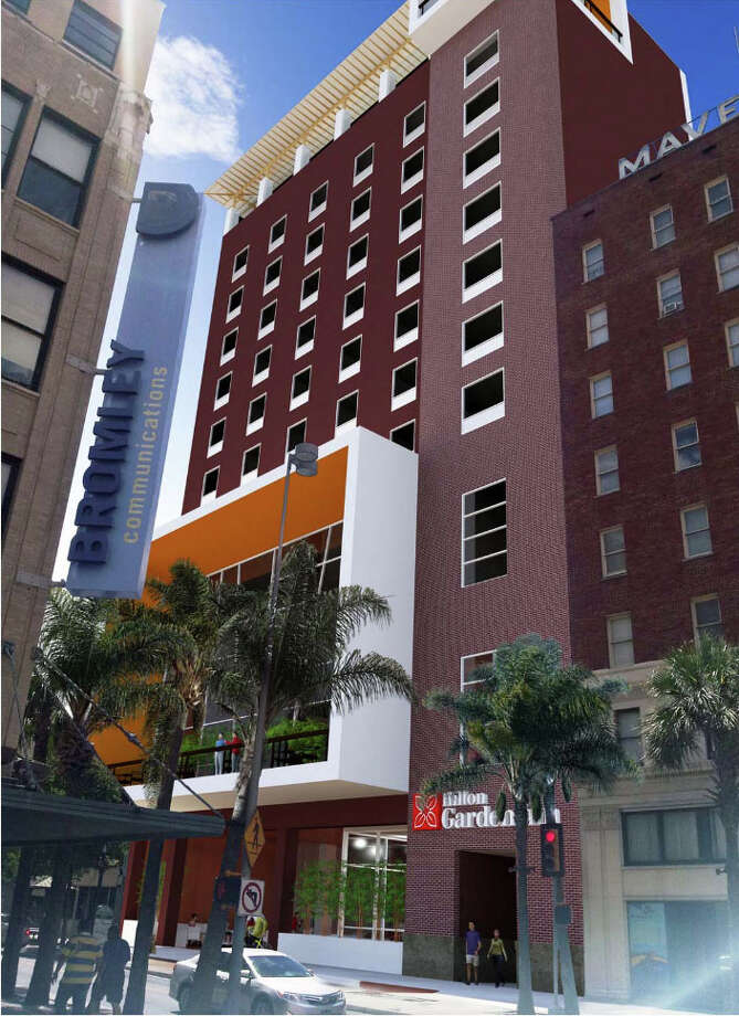 The 10-story Hilton Garden Inn, 408 E. Houston St., is being planned by Maryland-based Baywood Hotels. Photo: WEST EAST DESIGN GROUP