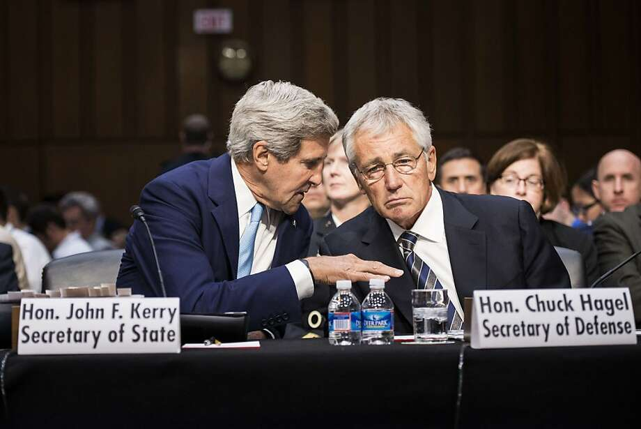 Secretary of State John Kerry and Secretary of Defense Chuck Hagel present President Obama's views before the Senate Foreign Relations Committee. Photo: Brendan Smialowski, AFP/Getty Images