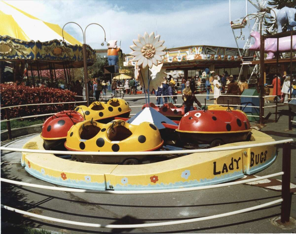 For kids and grown-ups who liked to sit with their knees at their chest, there was Fun Forest's ''Kiddieland,'' with vehicles that went around in a tight circle. Vehicles like ladybugs. Photo circa 1970.