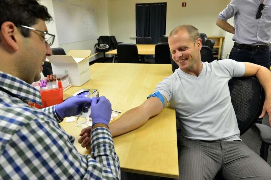 Tim Ferriss has his blood drawn at Wellness FX Blood Analysis. Photo: Jerod Harris