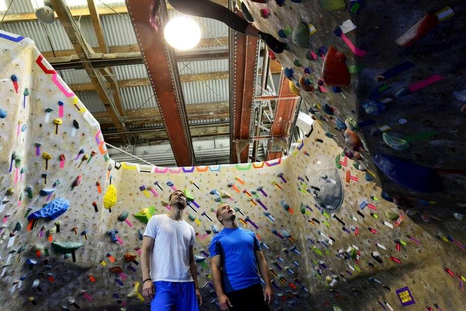 Jonathan Keidan and Tim Ferriss access the rock climbing walls at  Mission Cliffs. Photo: Jerod Harris