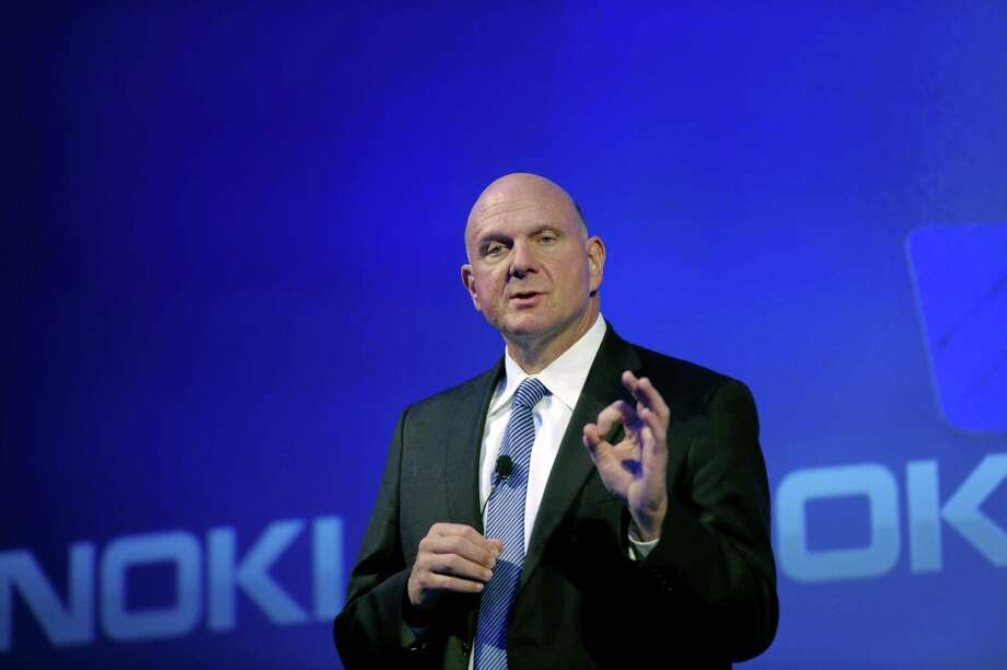 Microsoft CEO Steve Ballmer speaks during a press conference on the company's deal with Finnish mobile manufacturer Nokia in Espoo, Finland on Tuesday, Sept. 3, 2013. Microsoft Corp. is buying Nokia Corp.'s line-up of smartphones and a portfolio of patents and services in an attempt to mount a more formidable challenge to Apple Inc. and Google Inc. as more technological tasks get done on mobile devices instead of personal computers. (AP Photo/Lehtikuva, Markku Ulander) FINLAND OUT  ORG XMIT: TOK813 Photo: Markku Ulander / Lehtikuva