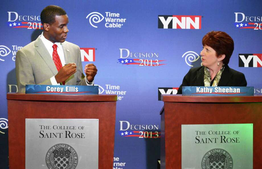 Democratic mayoral candidates Corey Ellis, left, and Kathy Sheehan debate Tuesday afternoon, Sept. 3, 2013, at St. Rose's Lally School of Education in Albany, N.Y. The primary for Albany mayor will held Tuesday Sept. 10. (John Carl D'Annibale / Times Union) Photo: John Carl D'Annibale / 00023731A