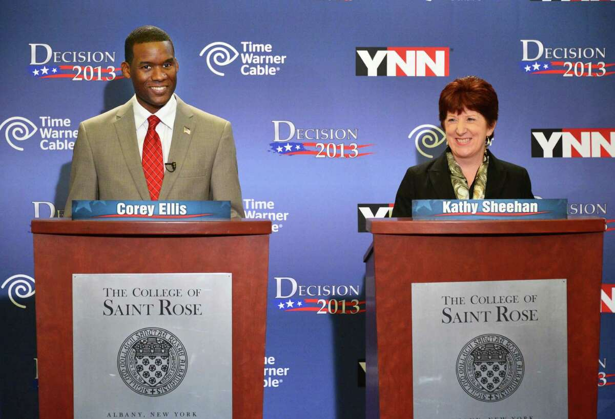 Democratic mayoral candidates Corey Ellis, left, and Kathy Sheehan debate Tuesday afternoon, Sept. 3, 2013, at St. Rose's Lally School of Education in Albany, N.Y. The primary for Albany mayor will held Tuesday Sept. 10. (John Carl D'Annibale / Times Union)