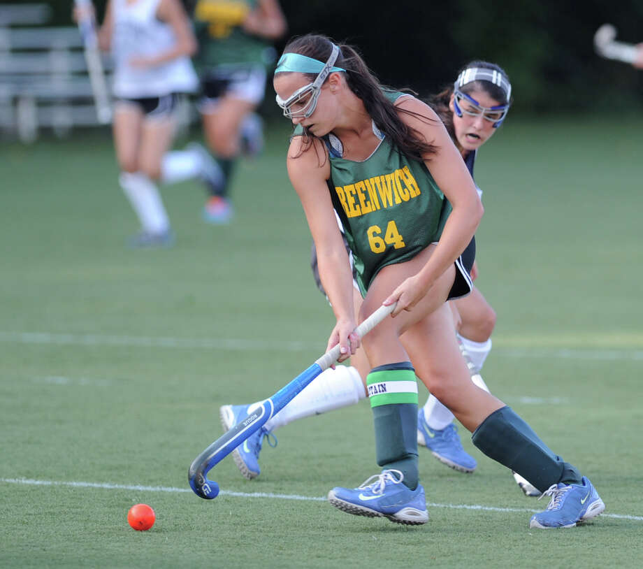 Greenwich Academy field hockey player Annie Leonard during scrimmage against Wilton High School at Greenwich Academy, Tuesday, Sept. 3, 2013. Photo: Bob Luckey / Greenwich Time