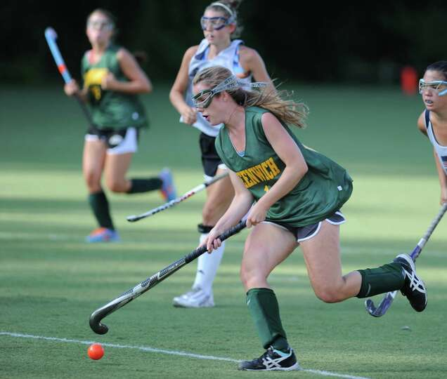 Greenwich Academy field hockey player Olivia LeSueur during scrimmage against Wilton High School at