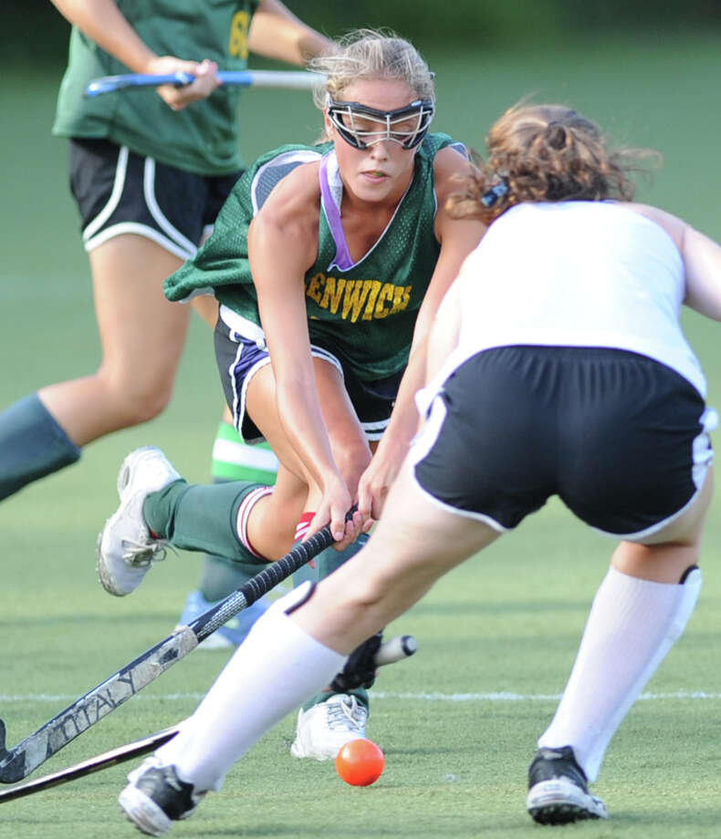 Greenwich Academy field hockey player Izzy Viola during scrimmage against Wilton High School at Greenwich Academy, Tuesday, Sept. 3, 2013. Photo: Bob Luckey / Greenwich Time