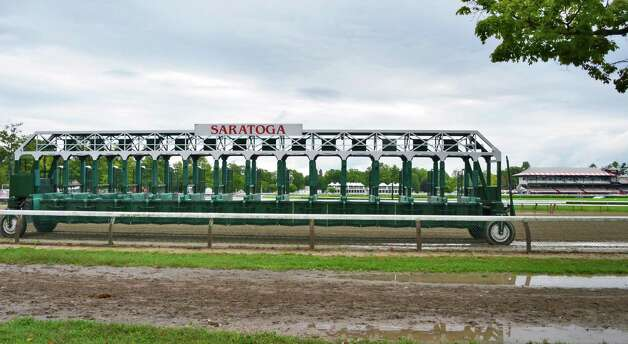 A starting gate sits on the main track at Saratoga Race Course Tuesday morning, Sept. 3, 2013, in Saratoga Springs, N.Y.  (John Carl D'Annibale / Times Union) Photo: John Carl D'Annibale / 00023730A