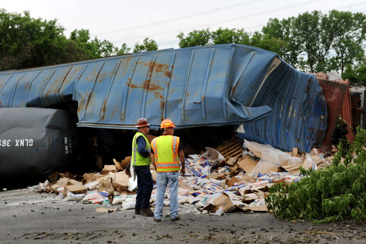 A container spilled its contents at the site of a train derailment on Thursday, June 27, 2013, in Mohawk, N.Y. (Cindy Schultz / Times Union archive)