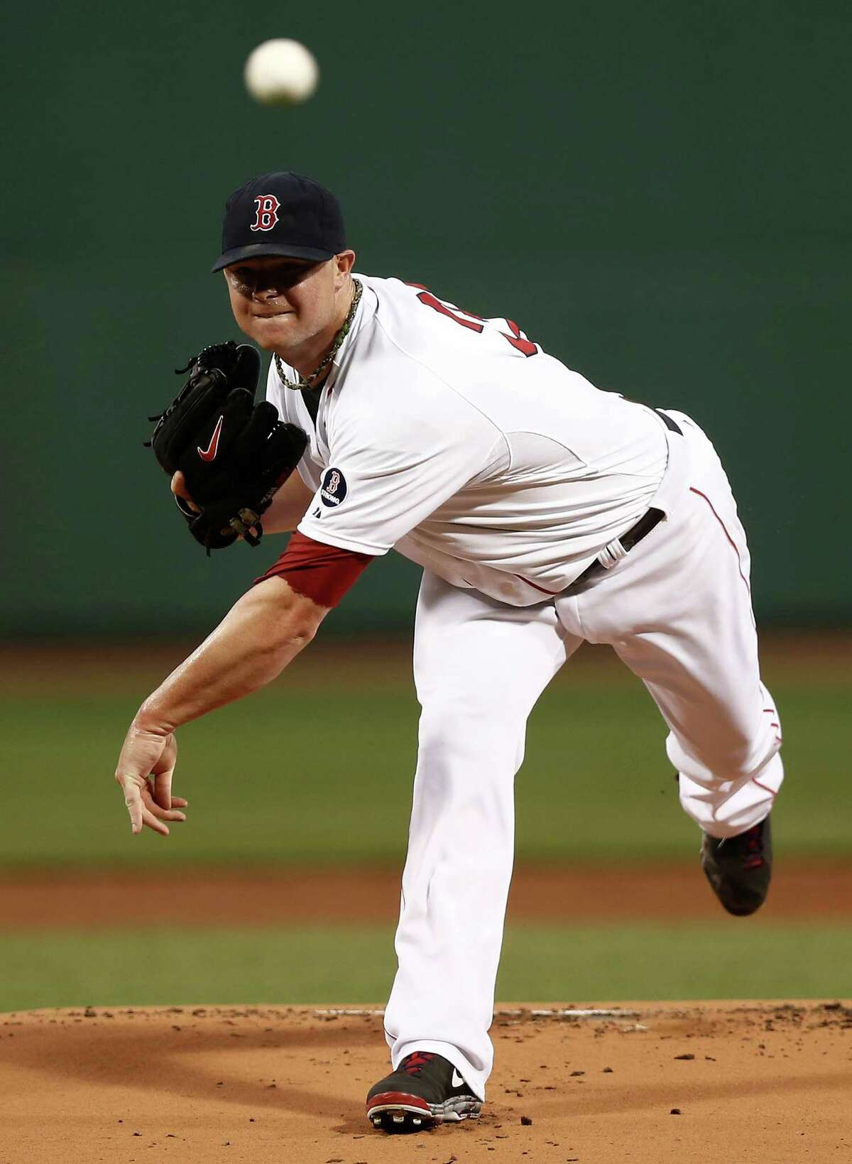 BOSTON, MA - SEPTEMBER 3: Jon Lester #31 of the Boston Red Sox pitches against the Detroit Tigers during the first inning at Fenway Park on September 3, 2013 in Boston, Massachusetts. (Photo by Winslow Townson/Getty Images) ORG XMIT: 163495347