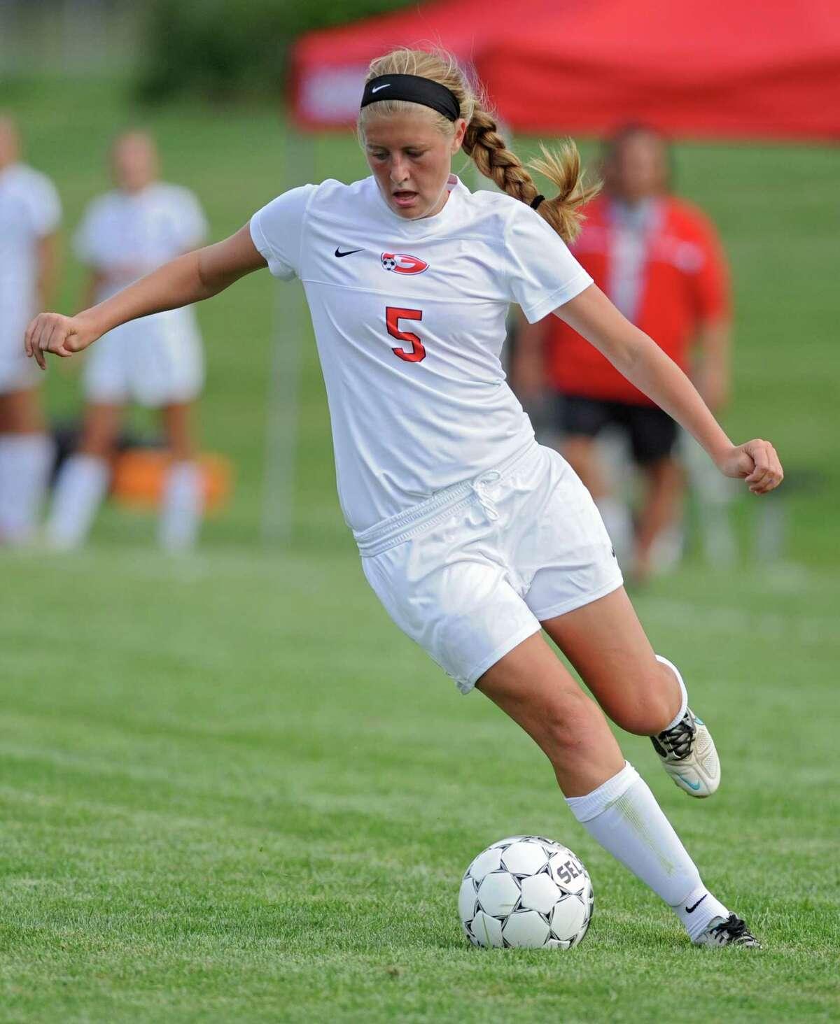 Guilderland's Katie Becker kicks the ball during a soccer game against Bethlehem on Tuesday, Sept. 3, 2013 in Guilderland, N.Y. (Lori Van Buren / Times Union)