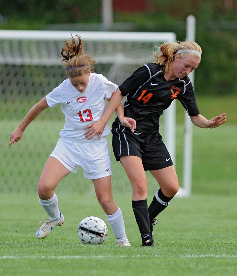 Guilderland's Emma Oliver and Bethlehem's Samantha Taillon battle for the ball during a soccer game on Tuesday, Sept. 3, 2013 in Guilderland, N.Y.  (Lori Van Buren / Times Union) Photo: Lori Van Buren / 00023742A