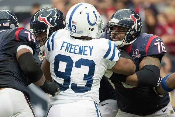 Texans tackle Duane Brown, right, thought his days of butting heads with Dwight Freeney would occur infrequently with Freeney leaving the Colts, but they'll get reacquainted in the season opener at San Diego.