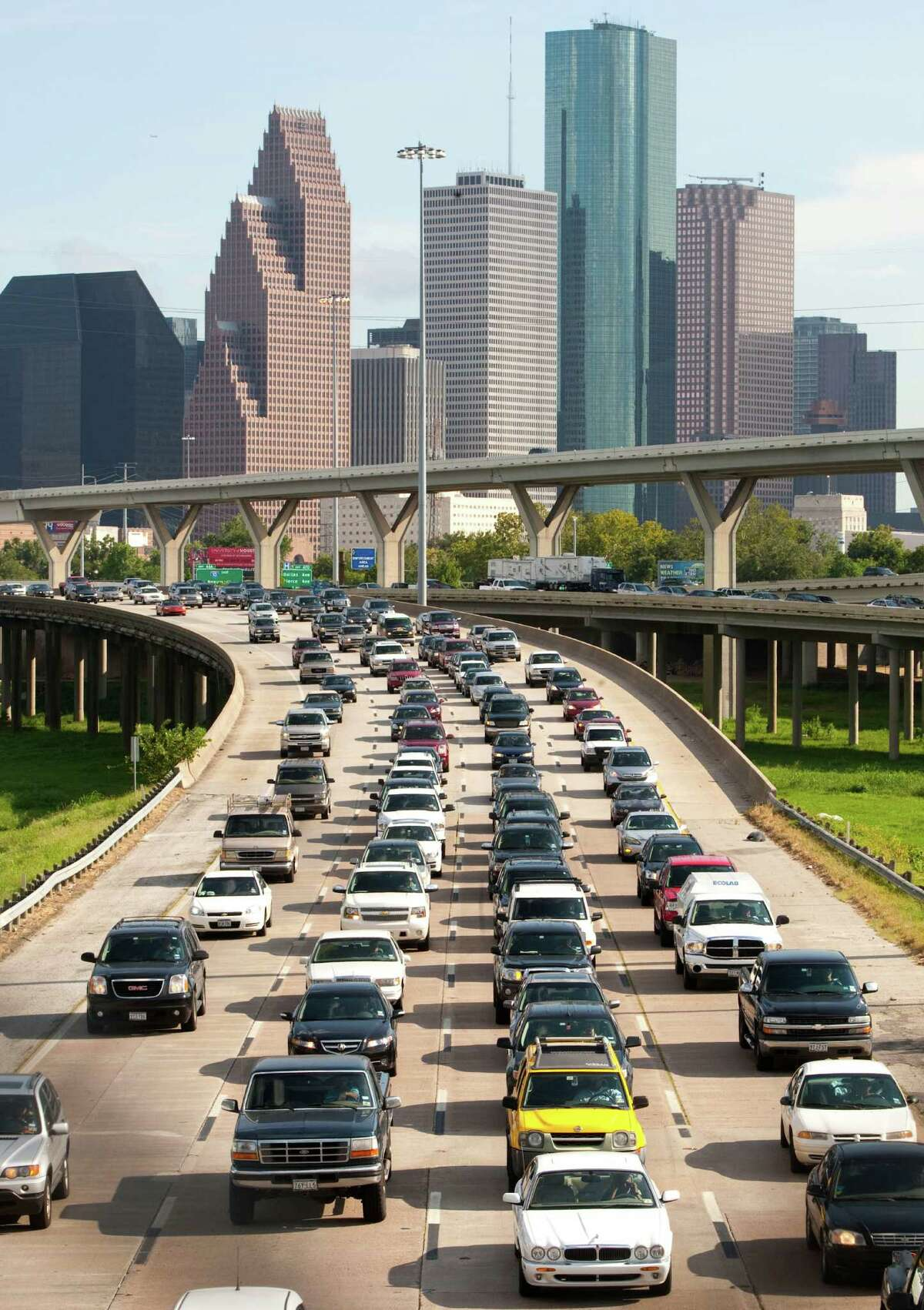 Traffic moves slowly out of Downtown on Interstate 45 in 2010. The stretch of I-45 north of Downtown to the North Loop is the fourth congested in the city.