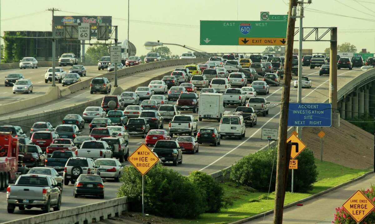 Morning rush hour traffic heads for downtown Houston on I-45 South, just north of Loop 610 in this August 2012 photo.