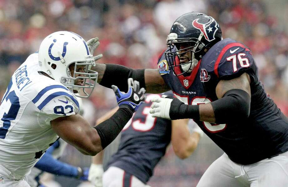 Texans left tackle Duane Brown (right) has battled with Dwight Freeney on many occasions, including last December against the Colts. They'll square off again Monday in San Diego. Photo: Thomas B. Shea / Getty Images