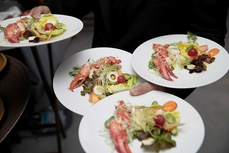 Lobster salad is the first course served at the 102nd San Francisco Symphony Gala at Davies Symphony Hall in San Francisco Calif. on Tuesday, Sept. 3, 2013. Photo: Alex Washburn