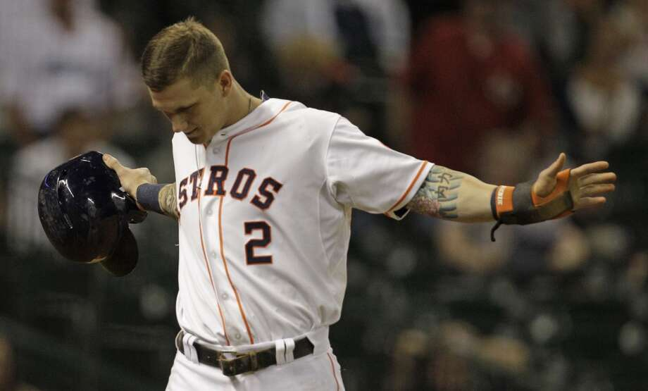 Sept. 3: Twins 9, Astros 6 (12)  Astros outfielder Brandon Barnes reacts after being caught stealing home against the Twins during the seventh inning. Photo: Melissa Phillip, Houston Chronicle