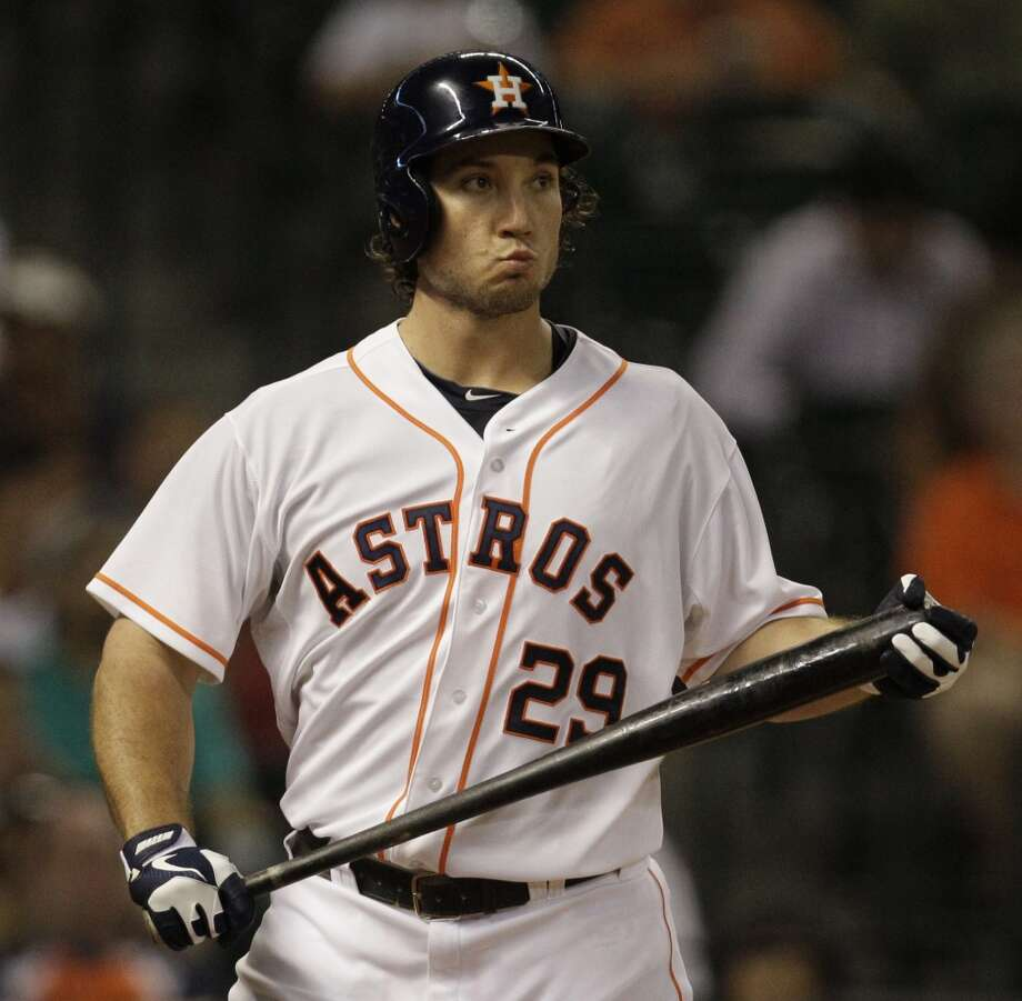 Brett Wallace of the Astros reacts after striking out against the Twins. Photo: Melissa Phillip, Houston Chronicle