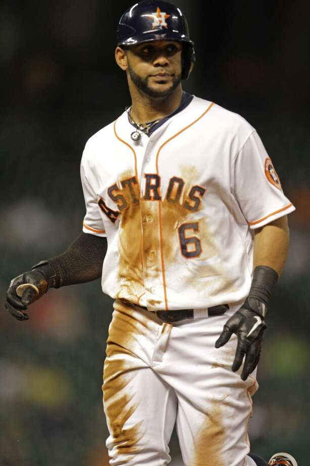 Astros shortstop Jonathan Villar reacts after being thrown out against the Twins. Photo: Melissa Phillip, Houston Chronicle