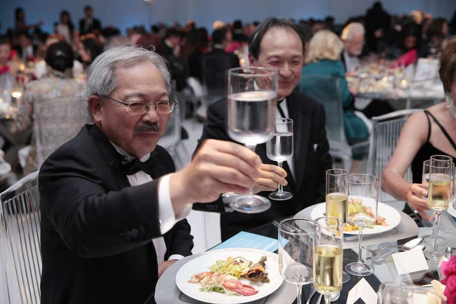 San Francisco Mayor Ed Lee raises a glass to toast with his dining companions during the 102nd San Francisco Symphony Gala in San Francisco Calif. on Tuesday, Sept. 3, 2013. After dinner Michael Tilson Thomas led the orchestra in Gershwin's An American in Paris and Antheil's Jazz Symphony. Audra McDonald joined the orchestra to perform selections from the American Songbook. Photo: Alex Washburn, Special To The Chronicle